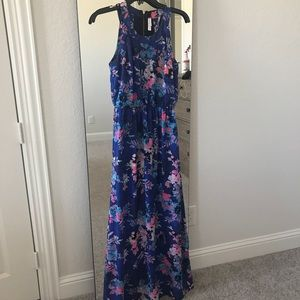 Blue and pink floral maxi dress